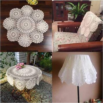 70cm Round Beige Handmade Crochet Lace Floral Doily Placemat Cotton Tablecloth Home Decor