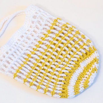 Nautical Market Bag Gold White Stripe Crochet Tote Beach Bag Reusable Grocery Eco Friendly