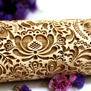 FLOWERS Embossing Rolling Pin, Laser Engraved Rolling Pin, FLORAL FOLK  Pattern, Embossed Dough Roller, Valentine's Day Gift, Personalized 3