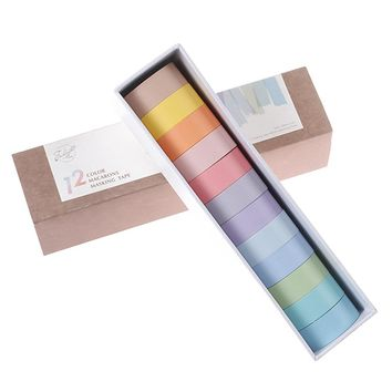 Rainbow washi tape set / 12 pieces 15mm / solid colors 12 colors