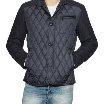 7 for All Mankind Men's Mixed Media Quilted Jacket - Dark Grey -