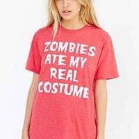 Zombies Ate My Costume Tee- Maroon