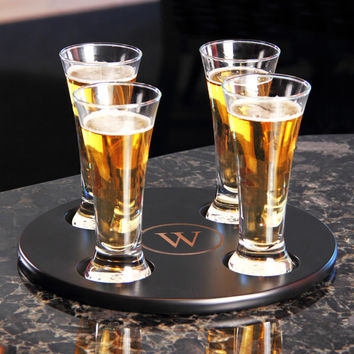 Personalized Round Beer Flight Samplerw/ 4pc. Glass Set