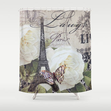 vintage white rose butterfly floral eiffel tower paris art Shower Curtain by Chicelegantboutique