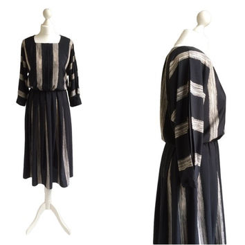 Vintage Batwing Dress - 80's Dress - 1980's Vintage Dress - Black Stripe Dress - Pleated Sleeves - Monochrome - Paint Strokes Dress
