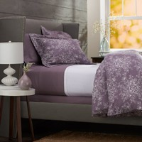 Pinzon Lightweight Cotton Flannel Duvet Cover - King, Floral Lavender