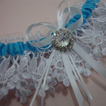 Lace garter, Turquoise blue ribbon garter with rhinestone, wedding/prom garter