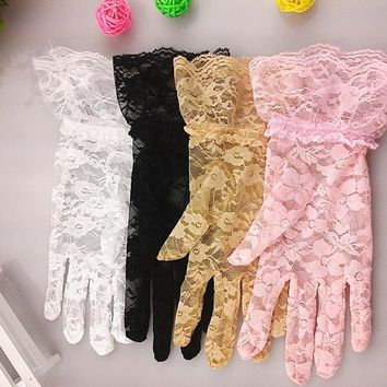 100Pairs/lot Fashion Party Driving Sexy Women Lady Lace Gloves Mittens Accessories Girl's Flower Side Sunproof Ritual Gloves