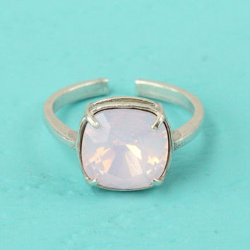 Pink ring, Swarovski Rosewater Opal ring, 925 sterling silver, adjustable ring size 4-9, 10 mm cushion cut Swarovski crystal, silver ring