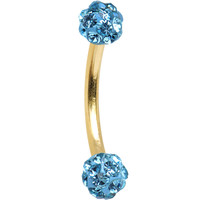 16 Gauge Gold Anodized Titanium Aqua Ferido Crystal Ball Eyebrow Ring | Body Candy Body Jewelry
