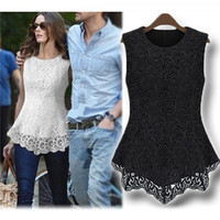 Embroidered Lace Flared Peplum Shirt