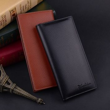 Mens Bifold Leather Multi Credit Card Holder Checkbook Purse Long Wallet Clutch