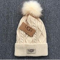 UGG Popular Autumn Winter Warm Women Men Pure Color With Small Ball Wool Thick Knit Hat Cap Beige