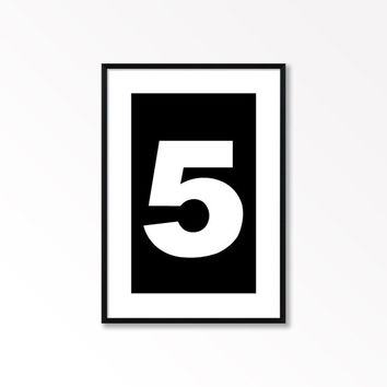 Number 5 Print, Minimalist Wall Art, Printable Art, 5, Black and White Print, Numbers Poster, Scandinavian Style Print, Affiche Scandinave