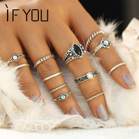 2017 Vintage Boho Ring Set Tibetan Turkish Turquoise Anillos Midi Rings Sets for Women Fashion Mix Steampunk Anel Aneis Jewelry