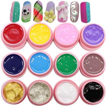 1pcs Soak Off Micro Carved 3D Modelling Nail Gel Painting Sculpture Designs Acrylic Nails Decoration 8ml Professional Salon