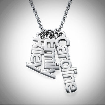 0.925 Sterling Silver Vertical Name Necklace