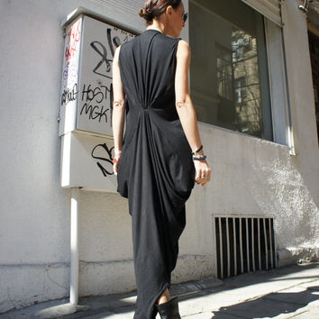 Black Kaftan / Maxi Black Dress / Asymmetrical Tunic
