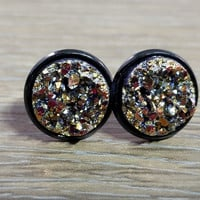 Druzy earrings- Magenta Gold drusy Black stud druzy earrings
