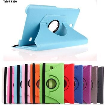 "Tablet case For Samsung Galaxy Tab 4 8.0"" T330 T331 T335 360 Rotating Leather Case Stand Cover  for samsung tab 4 8.0 SM-T330 #"