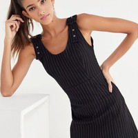 UO Kali Pinstripe Buckle-Strap Mini Dress | Urban Outfitters