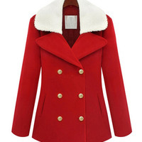 Red Long Sleeve Notched Collar Woolen Coat