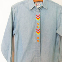 Vintage Beaded Wranglers Denim Buttondown Shirt