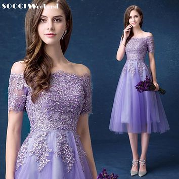 SOCCI Lavender Lace Sexy Boat-Neck Strapless Cocktail Dress New Lace-up Back Women Tea-Length Gowns Lady Wedding Party Dresses