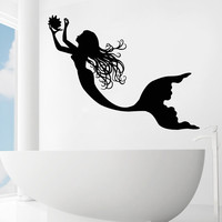 Mermaid Wall Decals Vinyl Stickers Nursery Home Decor Bathroom Kids Girls SM206
