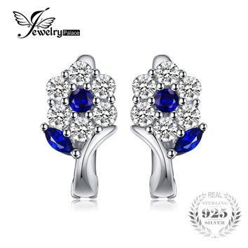 JewelryPalace Fashion 0.71 ct Created Blue Spinel Flower Earrings 925 Sterling Silver Clip Earrings Jewelry For Women Party Gift
