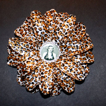Leopard Print Lily Marilyn Monroe Flower Hair Clip - Pinup Rockabilly Accessory