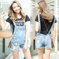 Girsl Denim Jumpsuit  Hole Short Jeans Romper Women Crimping Overalls emoticons appliques Character  High Waisted Washed