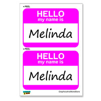 Melinda Hello My Name Is - Sheet of 2 Stickers