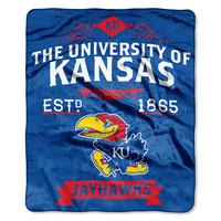 Kansas Jayhawks NCAA Royal Plush Raschel Blanket (Label Series) (50x60)