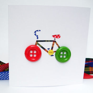 Bicycle Card with Button Wheels - Bike Card - Cycling Card