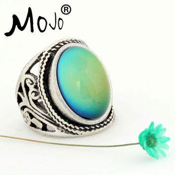 Mojo Vintage Bohemia Retro Color Change Mood Ring Emotion Feeling Changeable Ring Temperature Control Ring for Women MJ-RS019