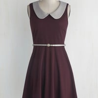 Vintage Inspired Mid-length Sleeveless A-line Work to Play Dress in Eggplant
