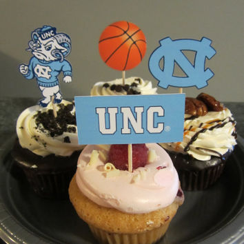 Cupcake toppers, party supplies, North Carolina Tarheels, basketball, sports theme, NCAA, March Madness, college