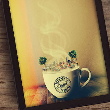 Drink It In - Miami - 11x17 - Large Framed Coffee House Art Unique Home Decor - Large Framed Art - Hipster Coffee Art - Florida