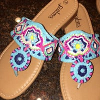 Jack Rogers inspired sandals in a Lilly Pulitzer like design. Crown jewels