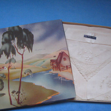 Pure Linen White Handkerchief In Original Box