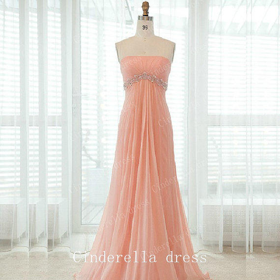Bright Color Strapless Beading Prom From CinderellaDress