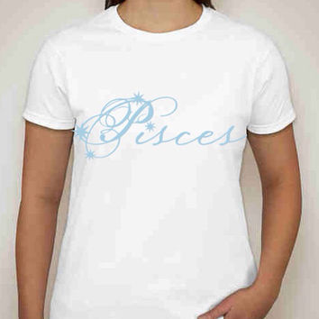 "Zodiac Collection ""Aquarius"" and ""Pisces"" Gildan Ultra Cotton Tshirts available in generous fit sizes small to 3XL."