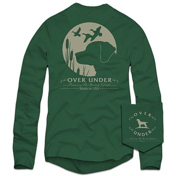 Long Sleeve Retriever's Moon T-Shirt in Green by Over Under Clothing