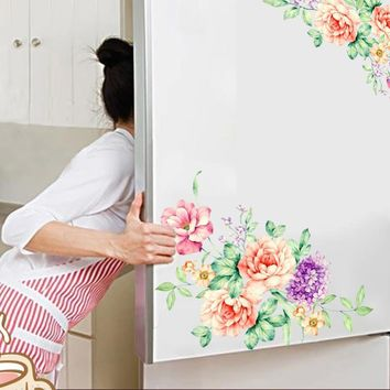 * Peony Flowers Wall Stickers Art Home Decor PVC Removable vinyl wall decals for kids living room Toilet fridge decorations