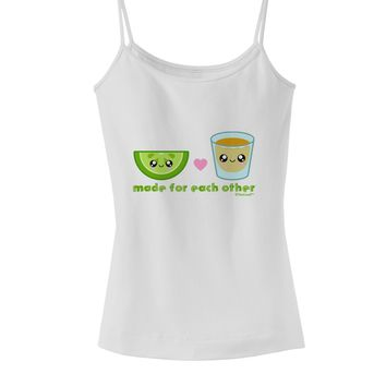 Cute Tequila Shot and Lime - Made For Each Other Spaghetti Strap Tank  by TooLoud