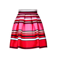 Alberta Ferretti - Striped Silk-Blend Flared Skirt