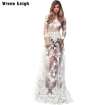 Summer Dress Evening Party Floor Length Dresses Women Sexy Fashion See Through Mesh Floral Lace Long Maxi Dress Bodycon Vestidos