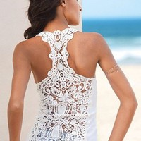 Crochet Race Back Tank (White or Black)