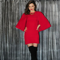 Red Packet Buttock Cloak Sleeves Sheath Dress